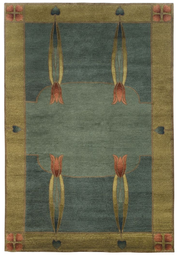 Stickley Furniture's Monterey Mist Rug  Inspired by Dard Hunter's 1906 stained glass windows at the Roycroft Inn in East Aurora, NY, this rug features the tulip, a celebrated design element in the Arts & Crafts movement. Hand-knotted by Nepalese weavers using wool from Himalayan Highland sheep.