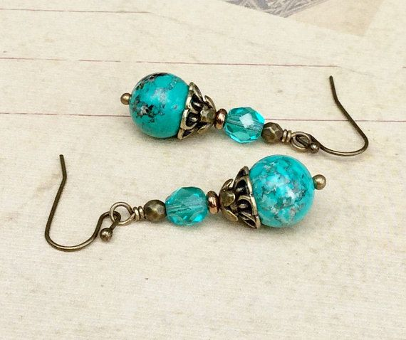 Teal Earrings Green Earrings Gemstone Earrings Teal Green