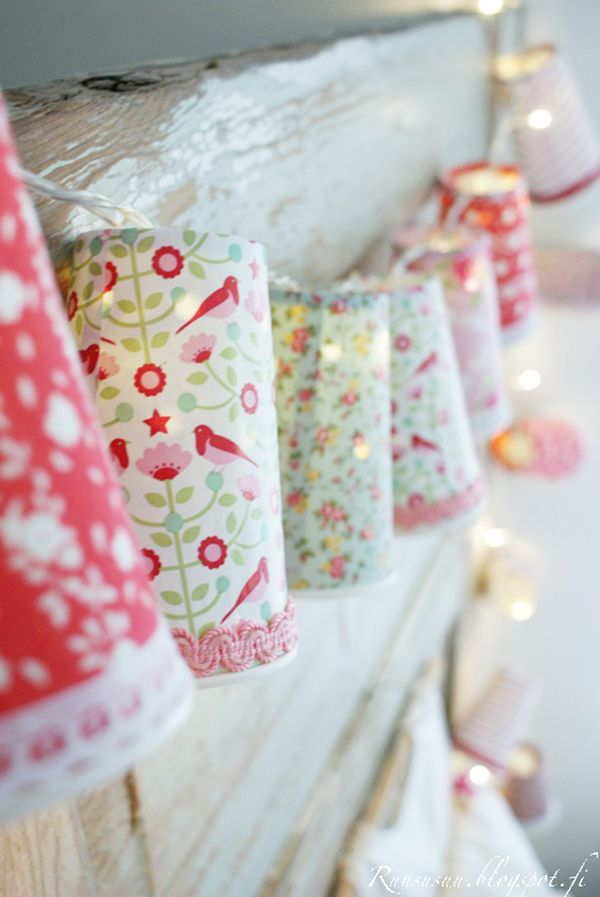 Tilda fabric covered paper cups used as fairy light light shades Incredible Shabby Chic Decor Ideas For Your Home