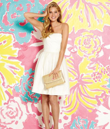 Lilly Pulitzer Spring 2013 Kerry Dress in Gold Metallic Tiny Corded Organza Stripe.  Shop this look:  http://www.lillypulitzer.com/product/Kerry-Dress/5729.uts?swatchName=Gold+Metallic+Tiny+Corded+Organza+Stripe