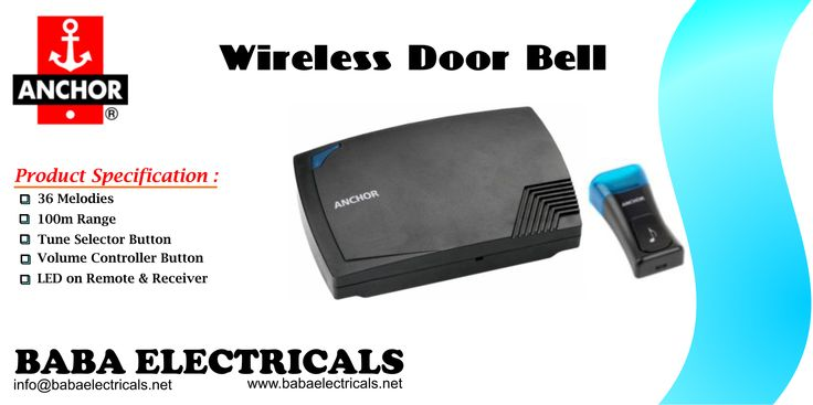 Anchor introduces Wireless Door Bell with 36 melodies and 100m range. It supports Tune selection and volume controller button. It sports LED on remote and receiver, operates on battery and come with 2 years warranty. http://goo.gl/q60YpL #Anchor #wireless #bell