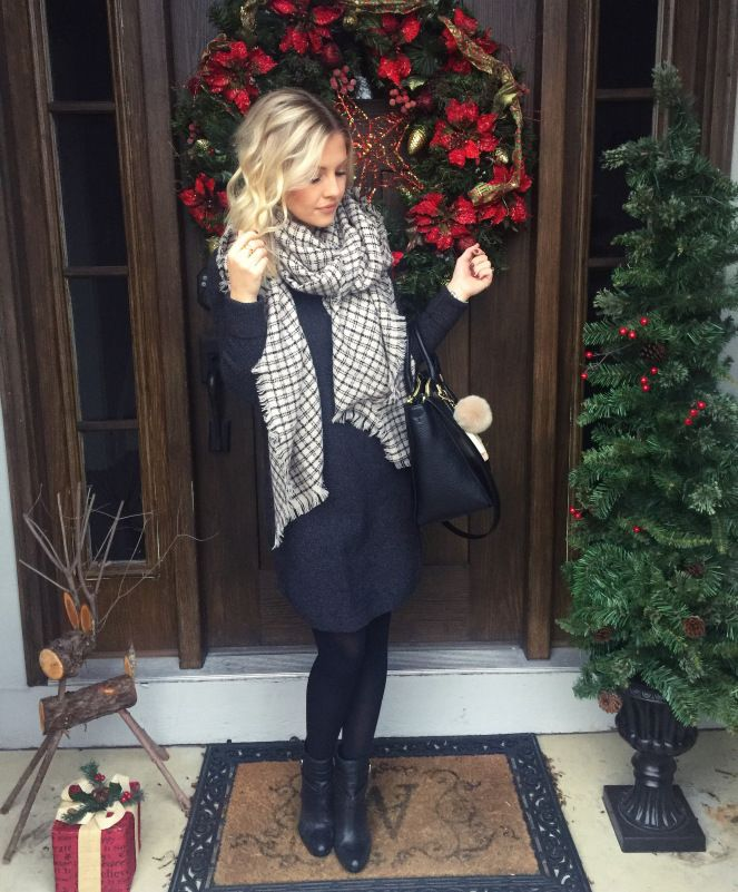 Shop Our Instagram – The Styled Duo  Style blogger    Sweater Dress    Holiday Style    Blanket Scarf