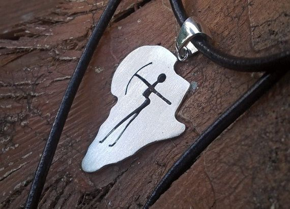 Sterling silver African bushmen map pendant on leather