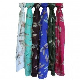 Countrylife Scarves - Dragonflies | Hip Angels Wholesale Country Life Scarves Dragonflies, made from 100% Polyester. These scarves are soft, large and lightweight featured in three fantastic designs inspired by country life style.   These scarves are cooler than cool, a symbol of elegance and sophistication with a hint of love for the countryside.  #Scarves_Wholesale #Wholesale_Scarves #Elemental_Scarves #Dragonflies_Scarves