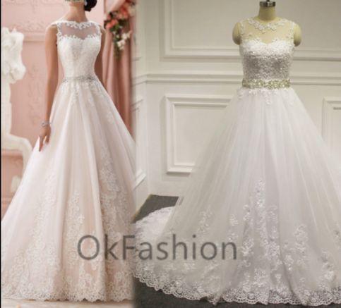 Luxury White/Ivory Cap Sleeve Lace Applique Beading Wedding Dress Cap Shoulder Bridal Gown Full Length
