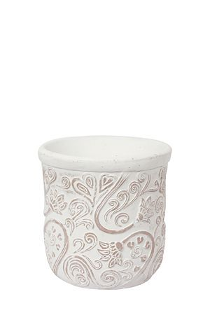 """This planter with embossed floral detail is made with clay and has a stone finish. Available in small, medium and large.<div class=""""pdpDescContent""""><BR /><b class=""""pdpDesc"""">Dimensions:</b><BR />L21xH21 cm</div>"""