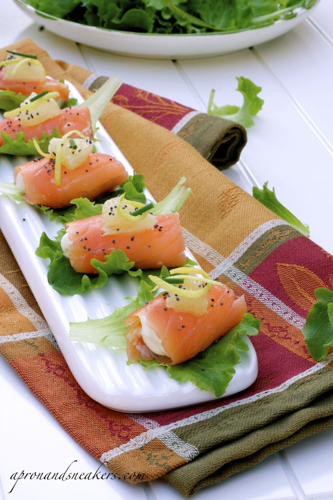 Salmon and Stracchino Rolls .... this would be a really elegant item for a brunch or shower.   stracchino is a kind of cheese