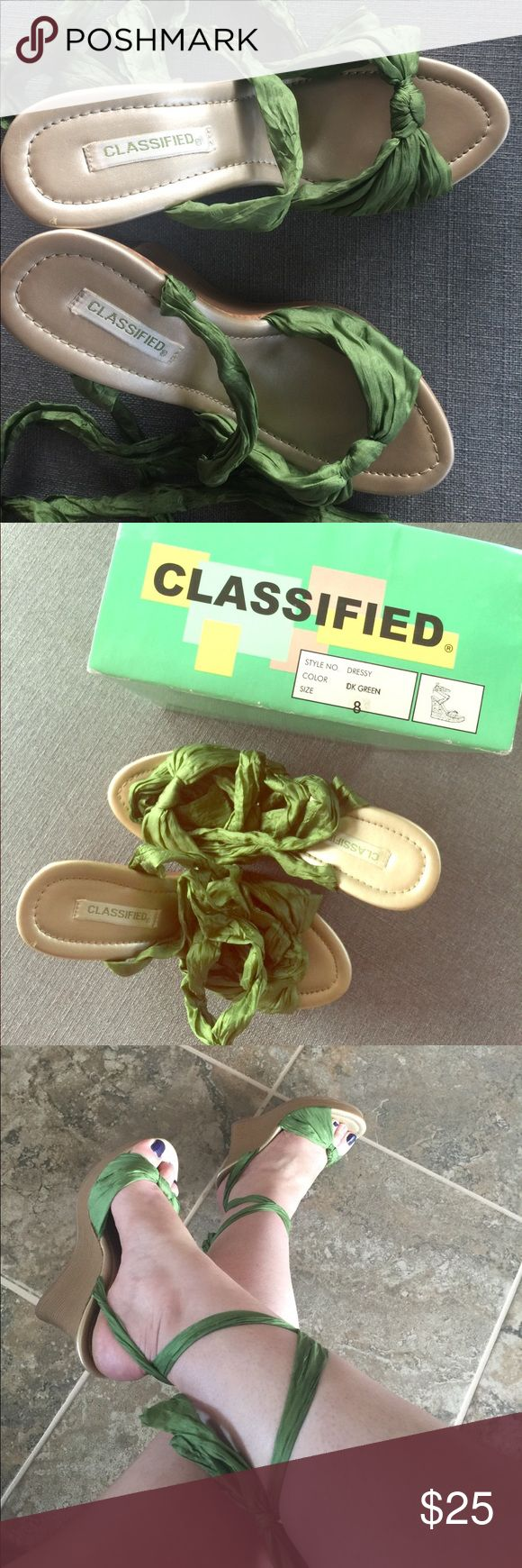 Classified green wedges size 8 These silky ribbon Classified brand dark green wedges size 8 will dress up any summer outfit! Like new classified Shoes Wedges