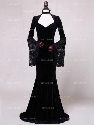 Black Velvet Dark Queen Gothic Victorian Dress