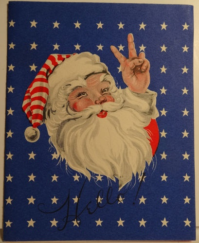 40s wwii patriotic santa giving the victory sign vintage for Santa cards pinterest