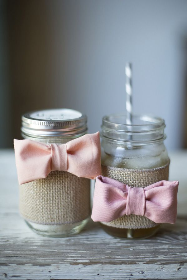 Southern DIY Tutorial: Bow Tie Mason Jars | Photo by Jade + Matthew Take Pictures | Southern Weddings Magazine