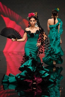 Creation by David Alvarez & Purificacion Ramos during the International Flamenco Fashion Show SIMOF in the Andalusian capital of Seville.