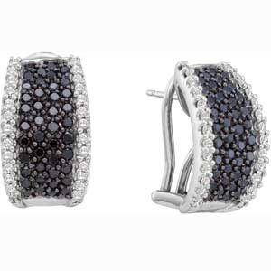 1 1/2 Carat Black White Diamonds 14k White Gold Fashion Earrings
