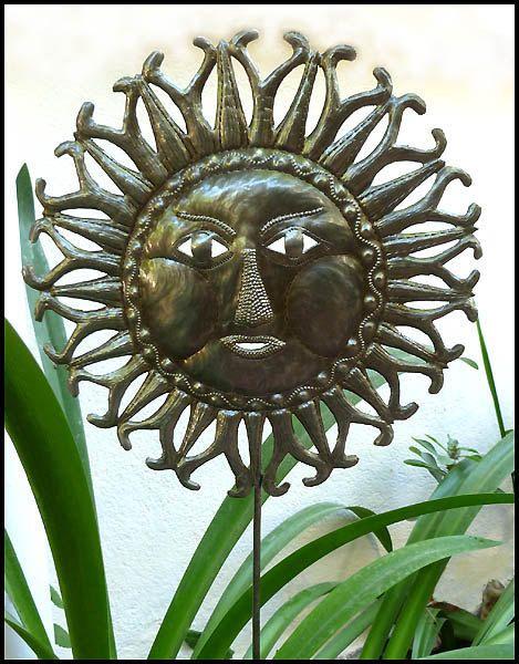 Sun Garden Plant Stake   Haitian Metal Art   Handcrafted Metal Plant Marker      Steel Drum Outdoor Garden Art From Haiti