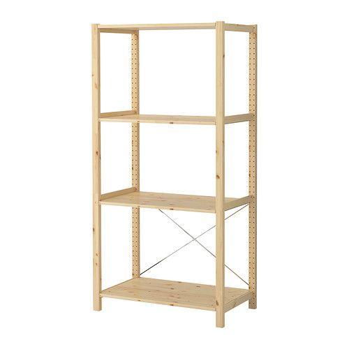 IVAR 1セクション/棚板 IKEA 無塗装の無垢材を使用。オイルやワックスなどの仕上げ剤を施すと、耐久性が高まり、お手入れも簡単になります 狭いスペースにぴったりのシンプルな基本ユニット。収納スペースが足りなくなったら、横にユニットを追加して拡張できます