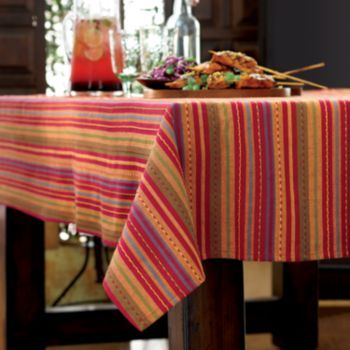 Bobby Flay Sangria Serape Tablecloth - 60'' x 102'' Oblong