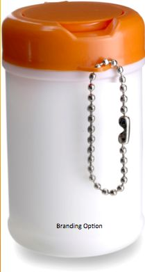 White plastic container with coloured lid and key chain, holds approximately thirty wet wipes. R10.90