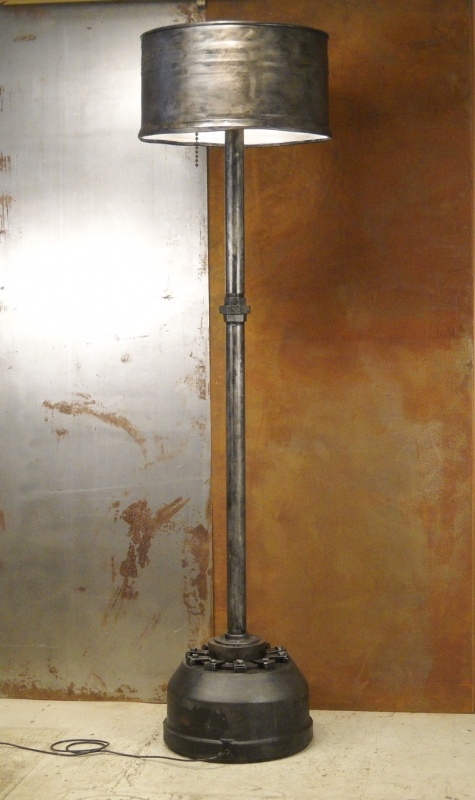 Modern Industrial monster floor lamp, repurposed from 55 gallon steel drum