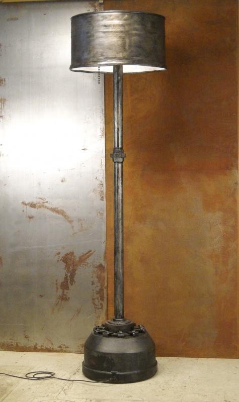 Modern Industrial monster floor lamp, repurposed from 55 gallon steel drum