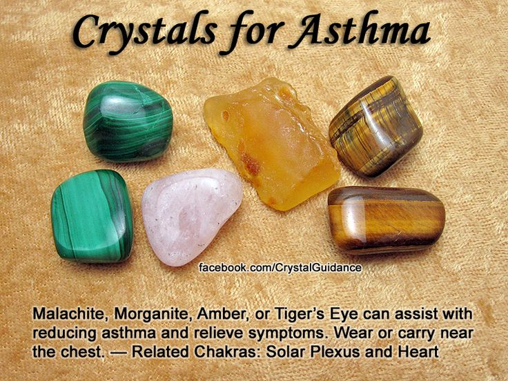 Crystals for Asthma — Malachite, Morganite, Amber, or Tiger's Eye can assist with reducing asthma and relieve symptoms. Wear or carry near the chest. — Related Chakras: Solar Plexus and Heart