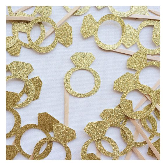 Gold Glitter Diamond Ring Cupcake Topper ; Engagement Ring Cake Decor ; Bachelorette Party Cake Decoration ; Bridal Shower Cupcake Toppers by Lets Get Decorative