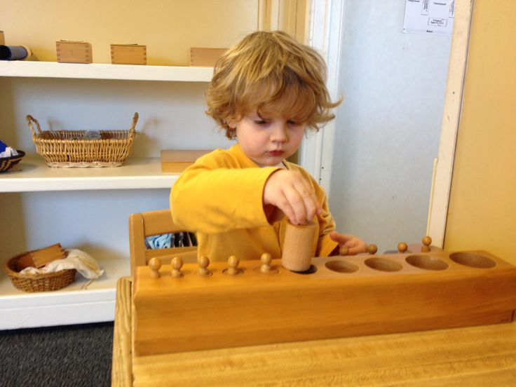 knobbed cylinder blocks with 10 cylinders. Assists children in developing visual discrimination of size, volume, thickness