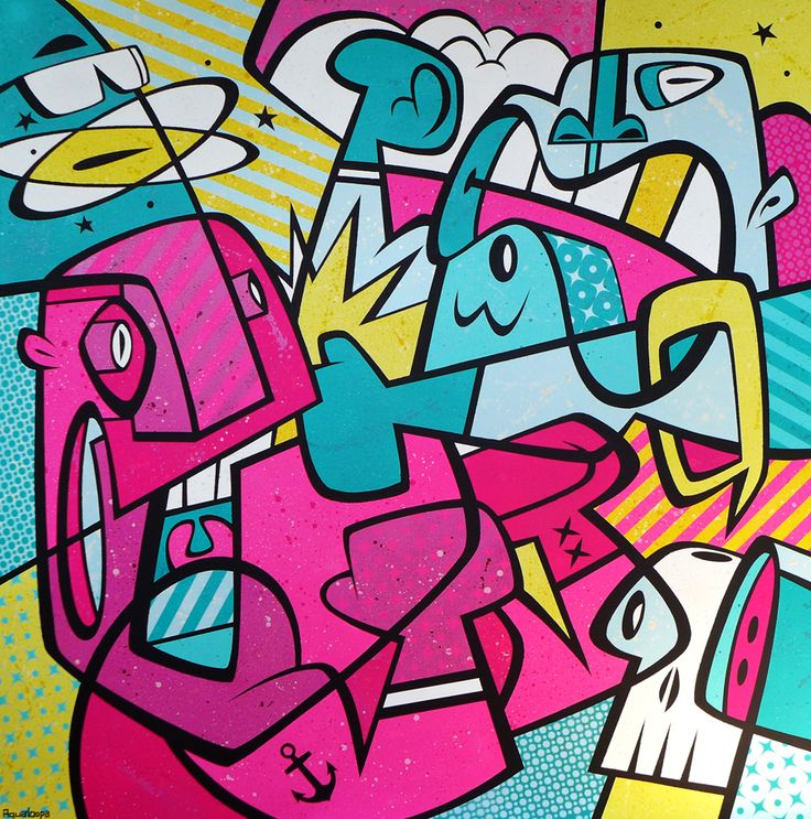 Aqualoopa /Igor Chołda/, Box'n'Kox, akryl, płótno, 120x120 cm.
