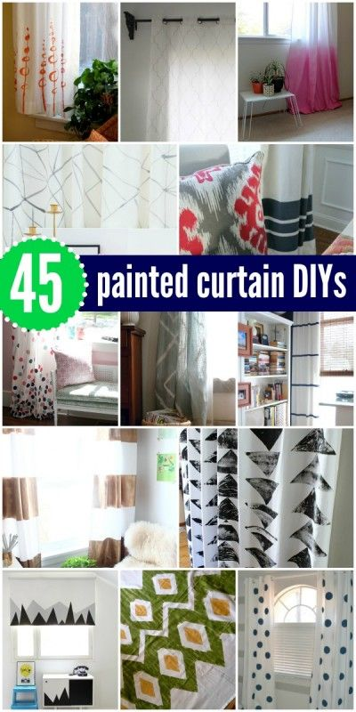 45 DIY Painted Curtains and Tutorials via Remodelaholic. Got my eye on those polka dots for C's room.....