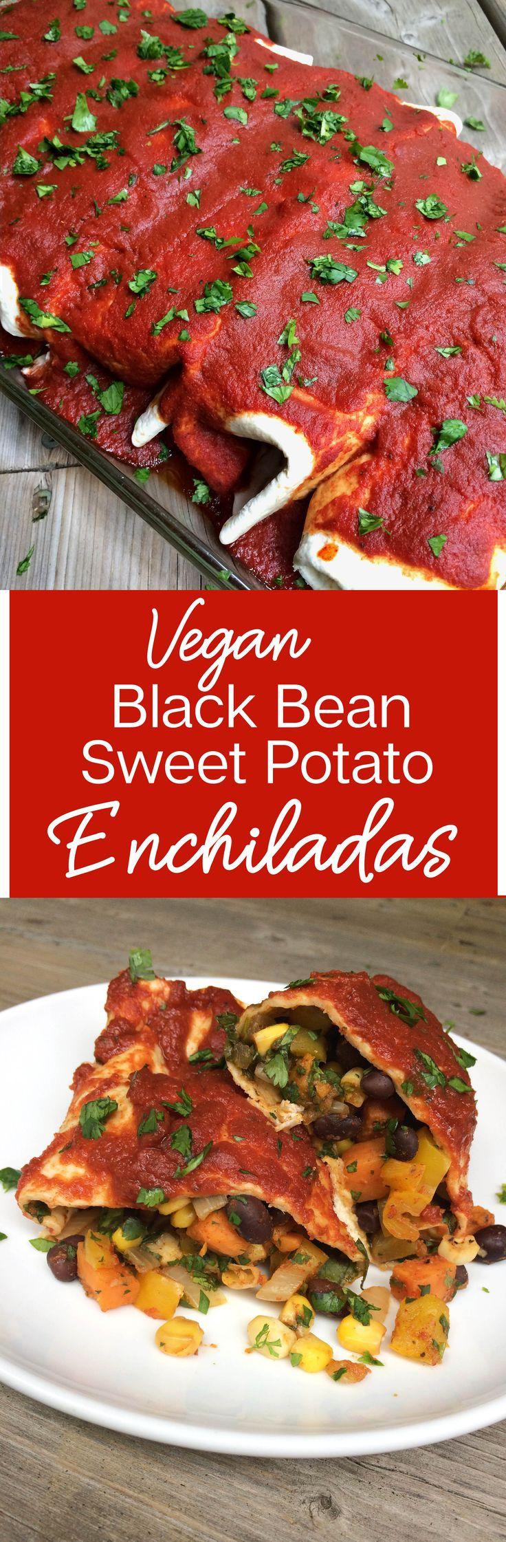 Vegan Sweet Potato Black Bean Enchiladas Recipe