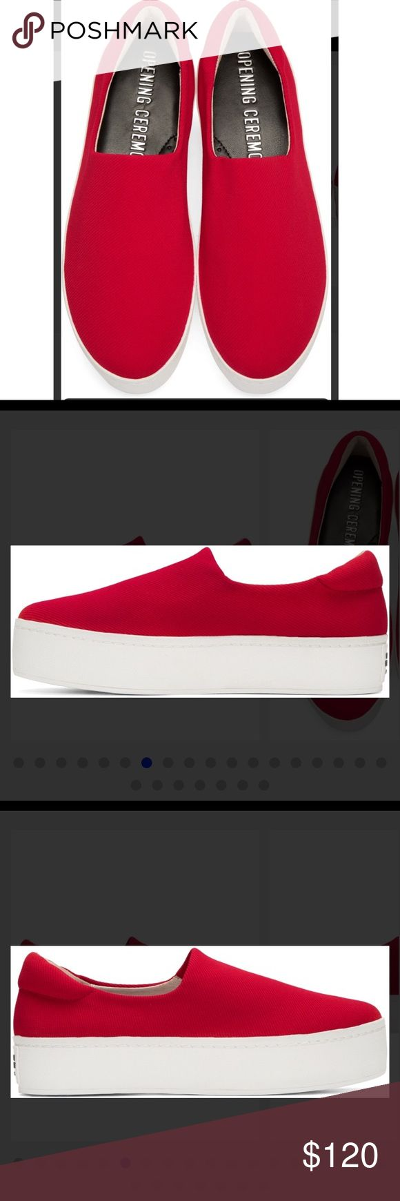 Opening Ceremony platform sneakers Women's Red Cici Slip On Platform Sneakers NWT.No box.No flaws.These slip-on Opening Ceremony sneakers are made from stretch fabric for extra comfort. Crepe platform. Rubber sole. Fabric: Stretch weave. This item cannot be gift-boxed. Platform: 1.5in / 35mm. Color: red Opening Ceremony Shoes Sneakers