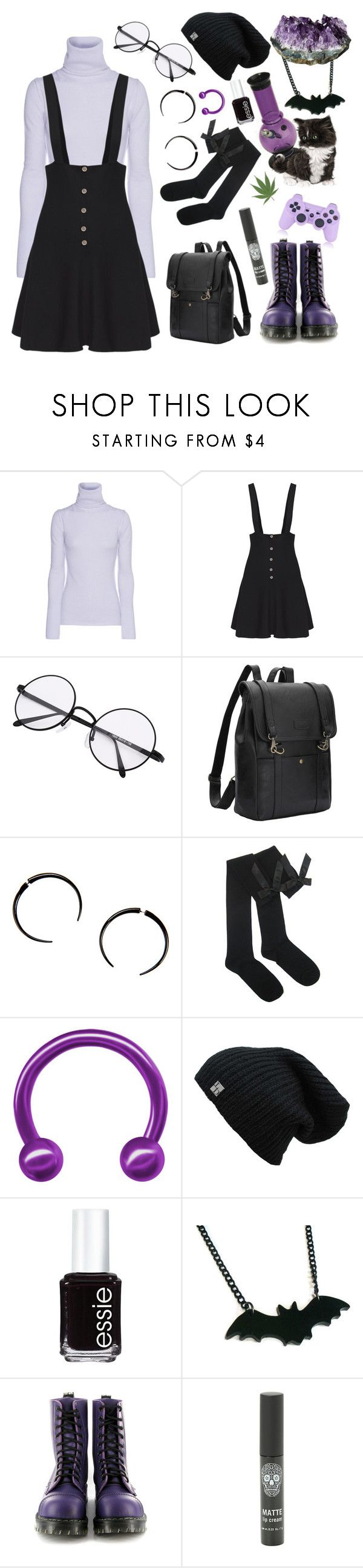 """""""I like lavender and black."""" by ghostlycatgirl ❤ liked on Polyvore featuring Jadicted, Hot Topic, Essie and Vegetarian Shoes"""