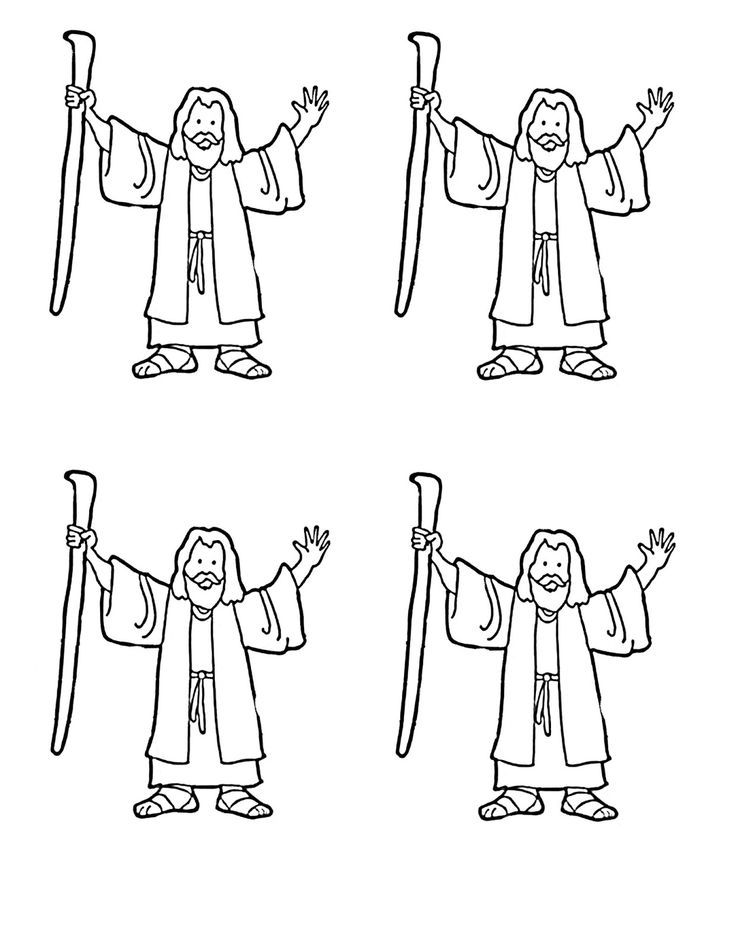 Moses coloring page for Red Sea craft Moppets Sunday