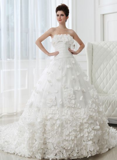 Fabulous Wedding Dresses Ball Gown Strapless Cathedral Train Taffeta Tulle Wedding Dress With