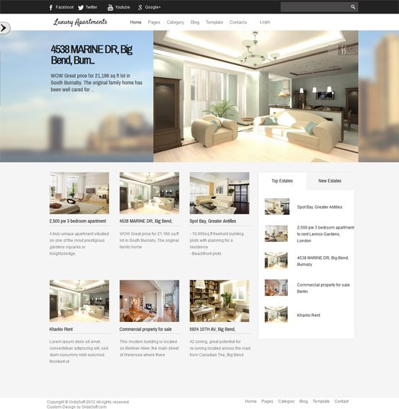 This Joomla real estate theme features slideshow, map, and search modules, a responsive layout, Bootstrap integration, cross-browser compatibility, demo content, CSS3 and HTML5, and more.
