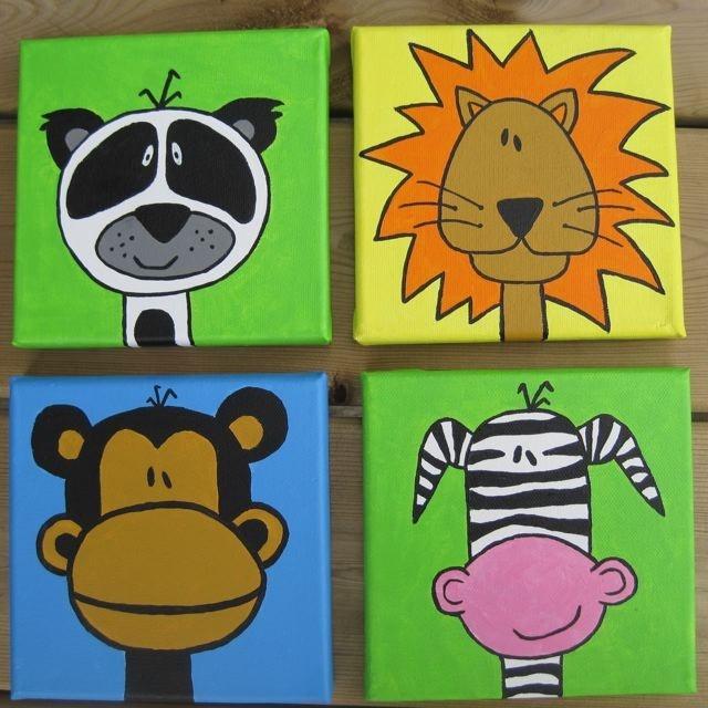 Nursery Paintings 6x6 Original Art by DaRosa SET of 4 Custom canvases. $65.00, via Etsy.
