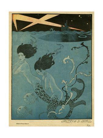 Mermaids and U-Boats Giclée-tryk af Georges Barbier på AllPosters.dk