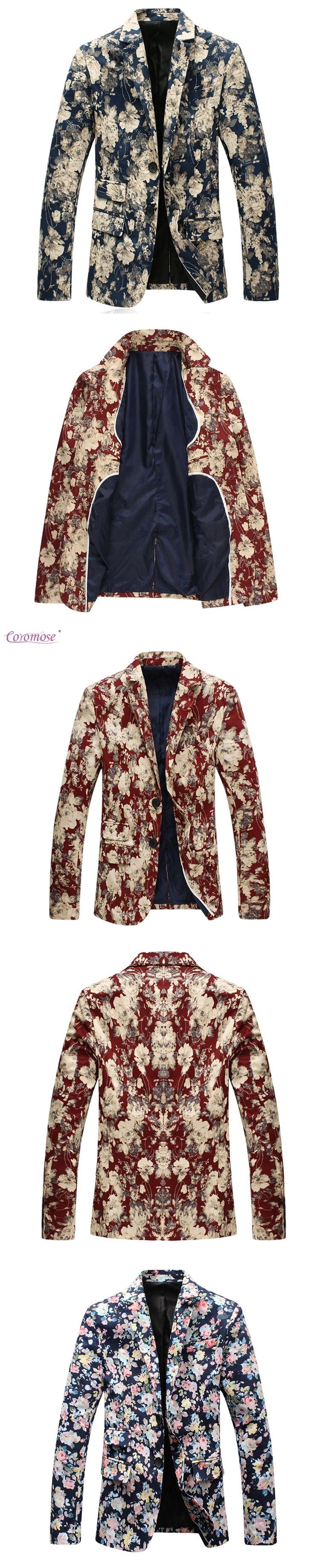 Coromose Men Paisley Floral Pattern Wedding Suit Jacket Slim Fit Stylish Costumes Stage Wear For Singer Mens Blazers Designs