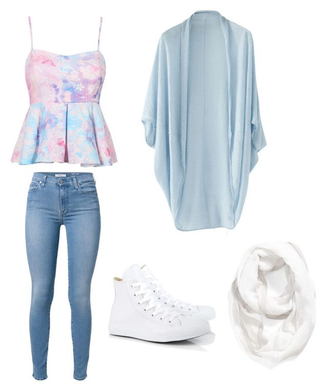 Bez tytułu #10 by daisyfashionlife on Polyvore featuring moda, Wrap, 7 For All Mankind, Converse and Halogen