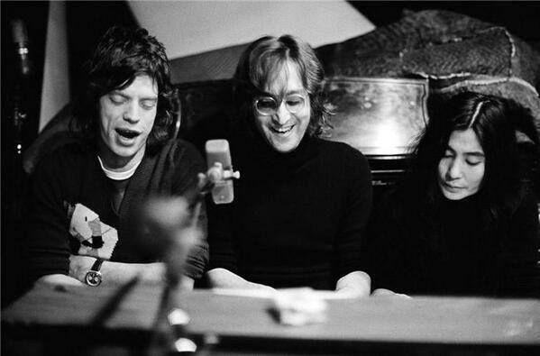Мик Джаггер, Джон Леннон и Йоко Оно. США. 1972 г.