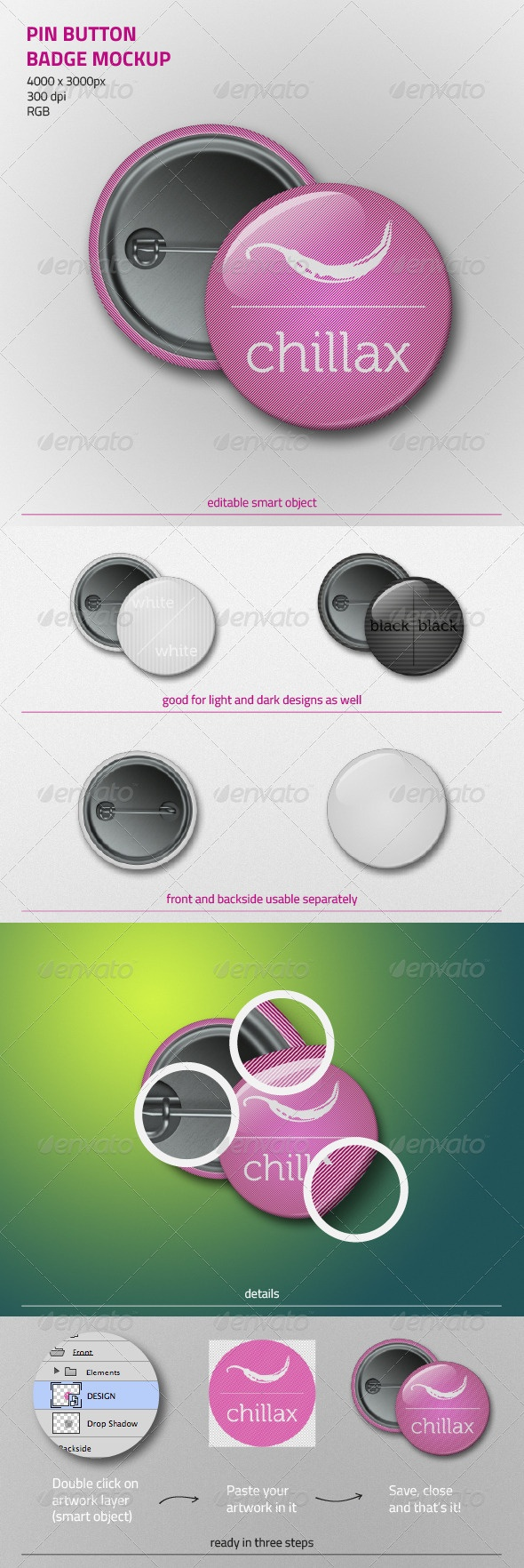 Pin Button Badge Mockup -  zarins on graphicriver, $4