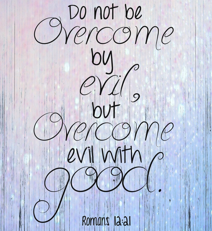 In light of all the events that have occured in the past couple months, we all need to step up and be the good in the world. Evil exists, and we are certain of that, but there are still good things in the world, and we need to never lose hope in that. Evil only wins if we let it. --Do not be overcome by evil, but overcome evil with good. -Romans 12:21
