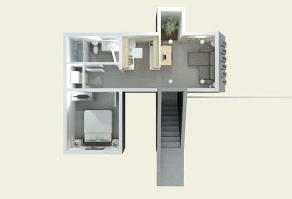Emergency Shelter - House 1 floor plan with lighting - can be used long term.