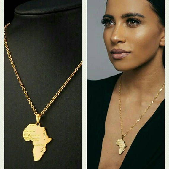 African map unisex necklace   MommaAfrica in 2019   Map necklace