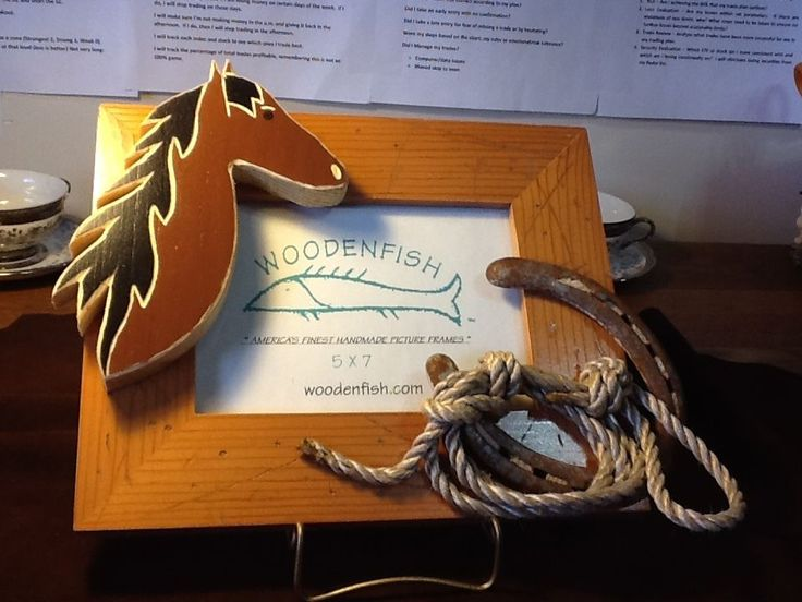 Western Picture Frame w/Wood Horse, Rope & Horseshoe 5X7 by Woodenfish