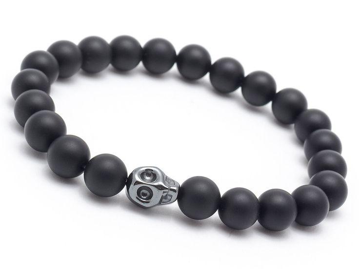 Mens Armbands – Bracelet men stone onyx hematite skull – a unique product by AB-art-studio on DaWanda