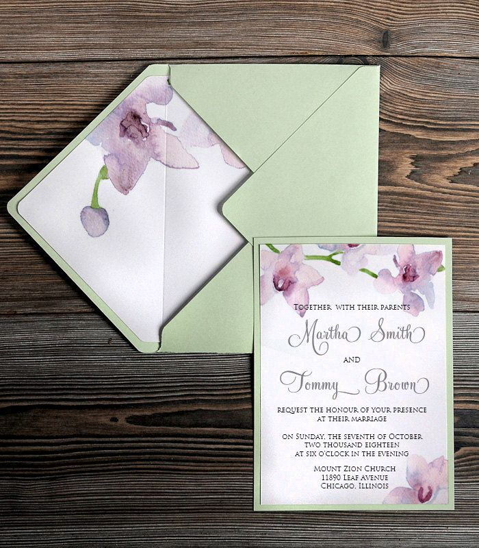 The 1622 best orchid wedding invitations images on pinterest watercolor painting invitation mint wedding by 4lovepolkadots stopboris Choice Image
