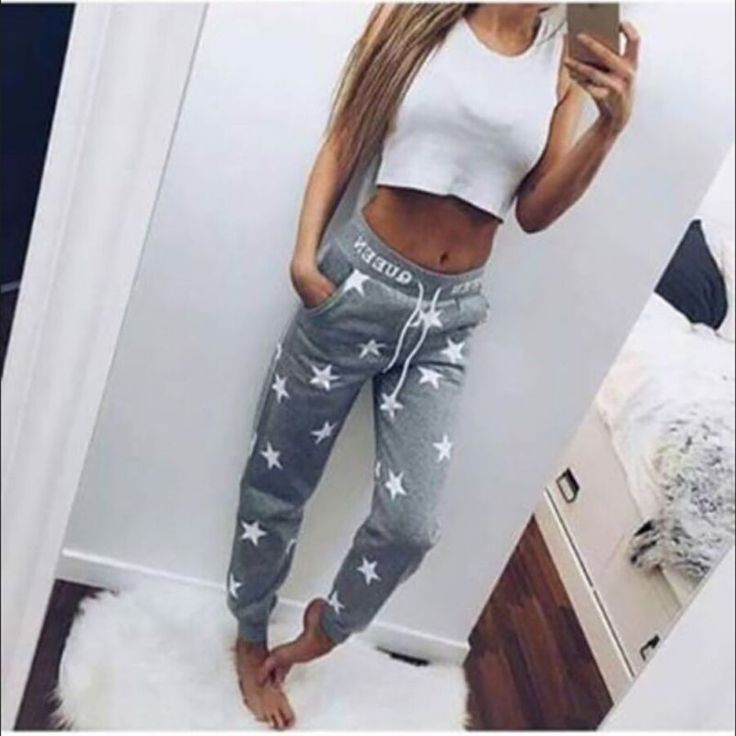 2 Colors High Quality 100% Cotton Loose Sport Pants Women Printed Star Long Trousers Training Sweatpants