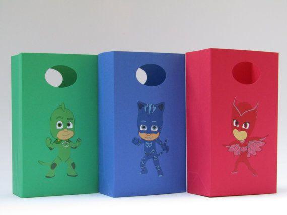 PJ Mask Party Favor Bag Candy Bag Treat Bag by Lovelyhandscrafts