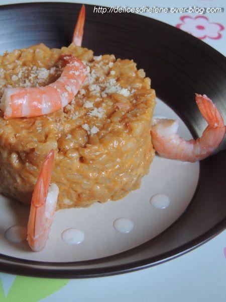 Risotto à la bisque de homard et crevettes