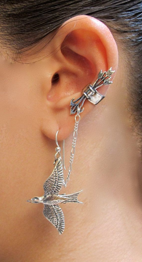 Silver Quiver and Arrows And Mocking Jay Ear Cuff by martymagic
